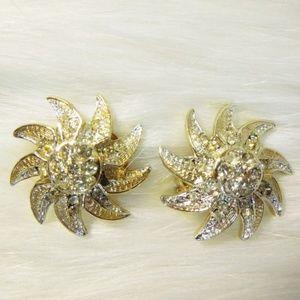 KRAMER Vintage Clip On Earrings Rhinestones